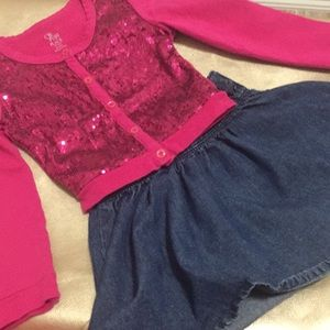 Fuchsia Sequence sweater and denim shirt